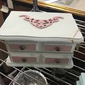 Vintage Shabby Chic Refinished Wood Jewelry Box
